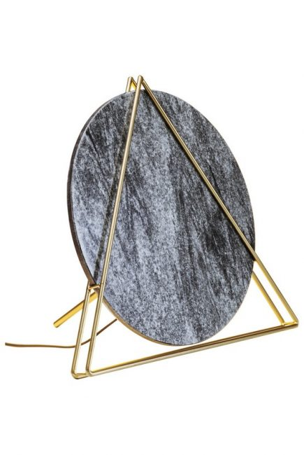 60227 KARE Podna Lampa Triangle Mermerna Crna